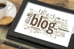 cloud of words or tags related to blogging and blog design on a