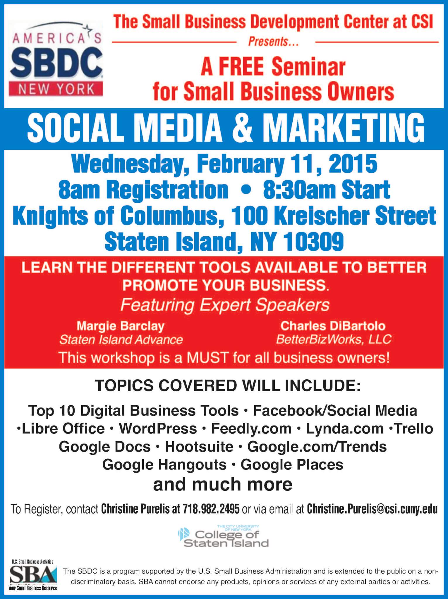 Small Business Social Media and Marketing Seminar