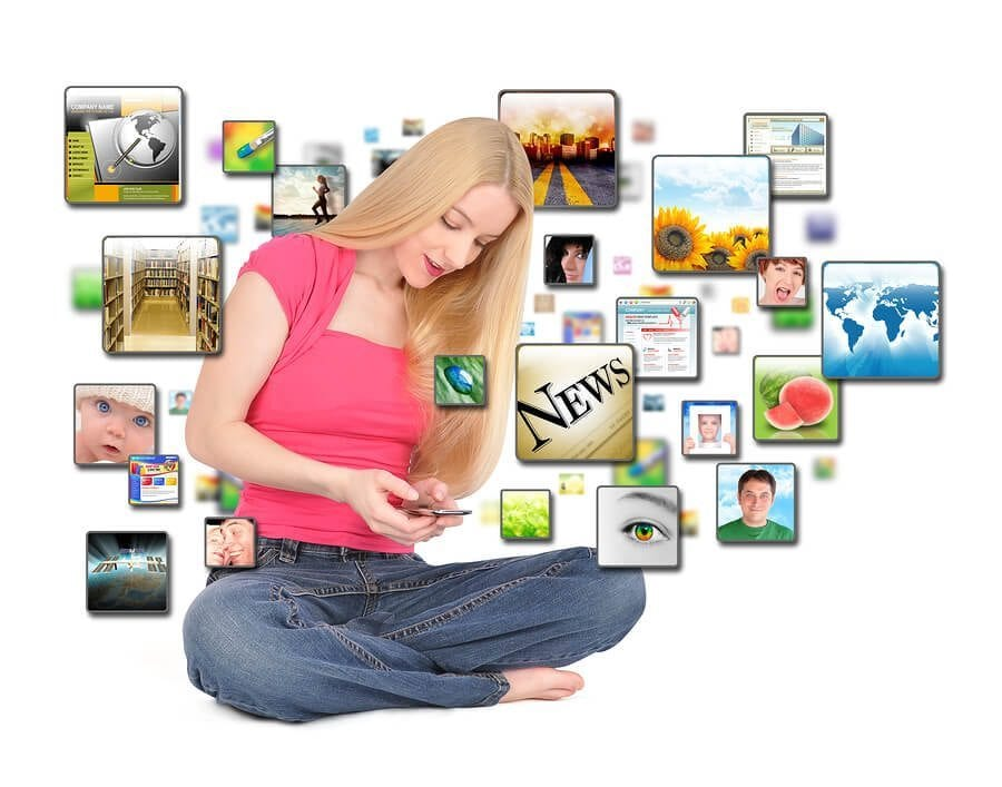 A young woman is texting on a smart phone with different photos coming out on a white background to represent apps.