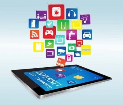 Modern digital tablet PC with Internet of things Apps. Internet of things concept illustration Controlling your home appliances with tablet.Internet of things Apps/Internet of things Apps