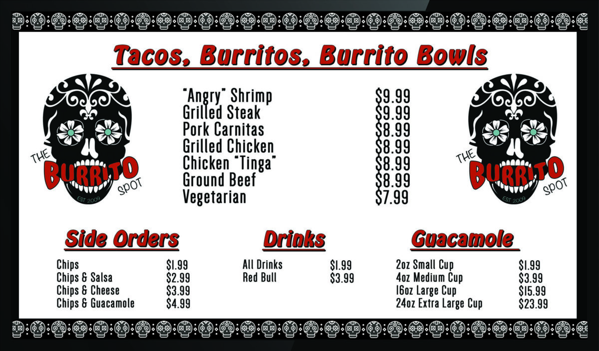 Burrito Spot Menu Screens