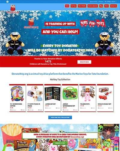 ecommerce website donate a toy