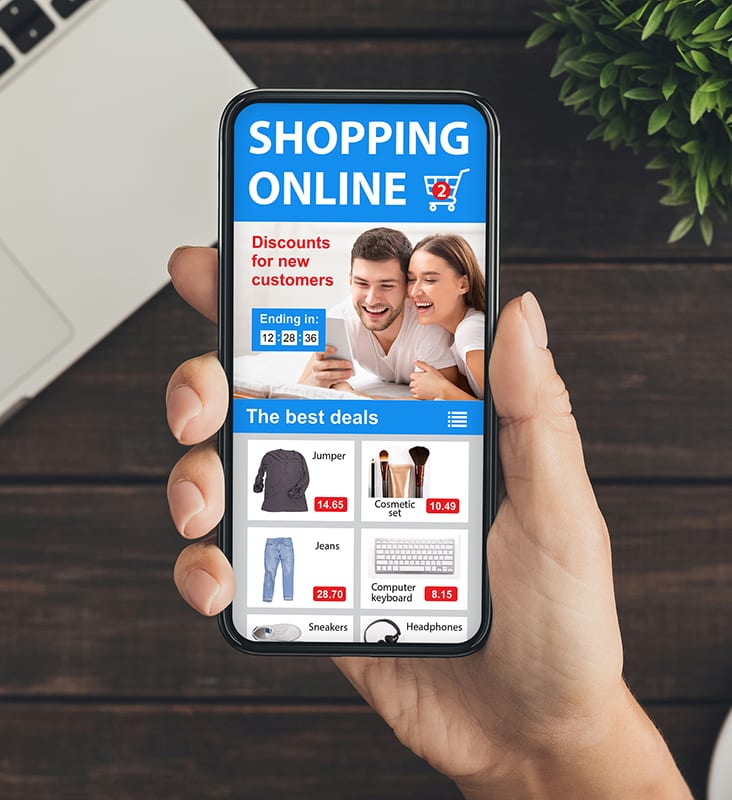 shopping online on a mobile device