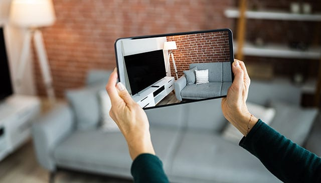home interior on tablet for 3d virtual tours