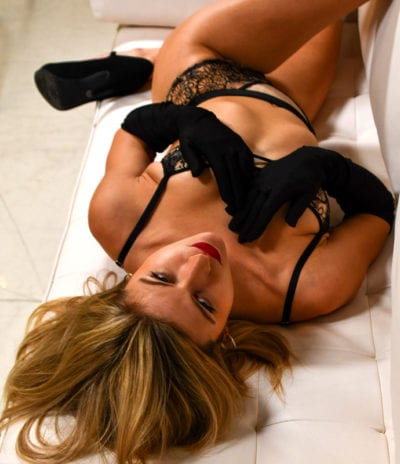 JoJo - blonde model in lingerie, overhead shot