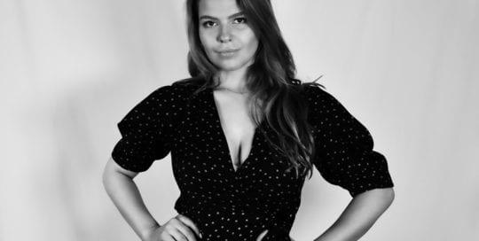 Leah, model - black and white photo of model in dark dress