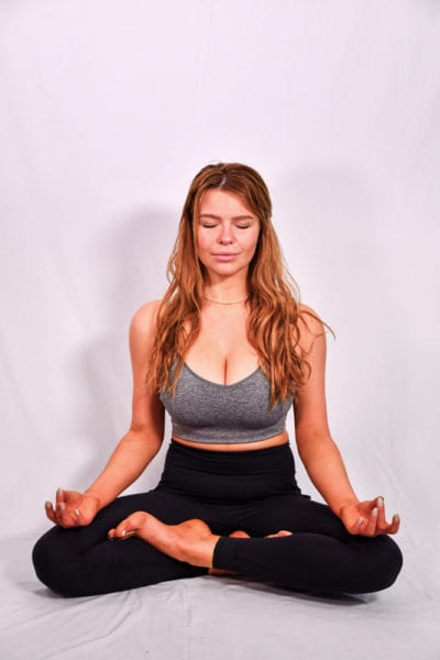 Leah models - redhead model in yoga pose, lotus position, meditations