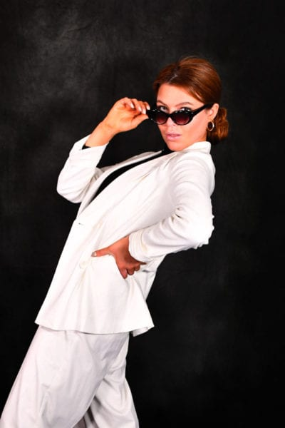 Leah, models, redhead young woman in white pantsuit and sunglasses