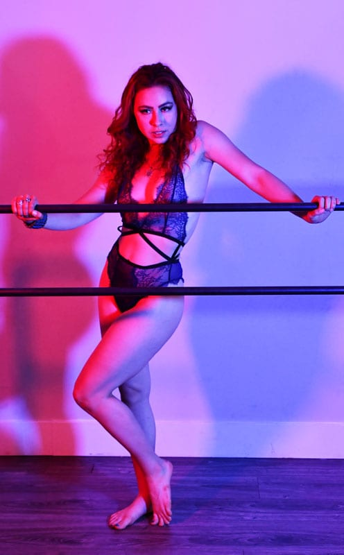 Aubrey - model in lingerie with red & blue lighting