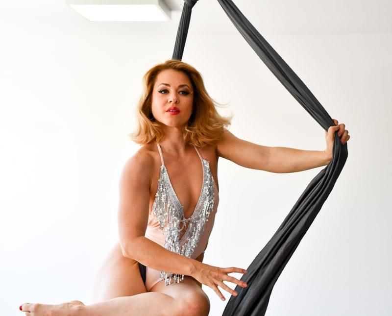 Rebecca - blonde model on aerial silks