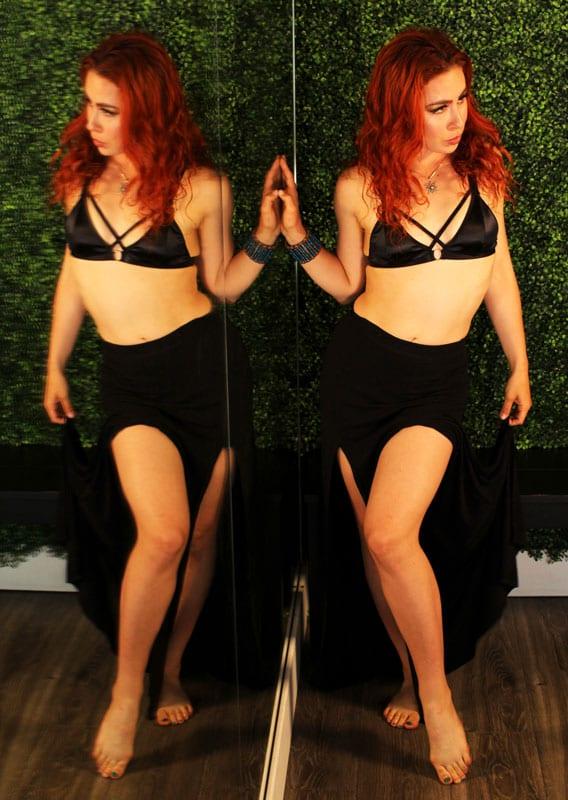 Aubrey - redhead model reflected in mirror