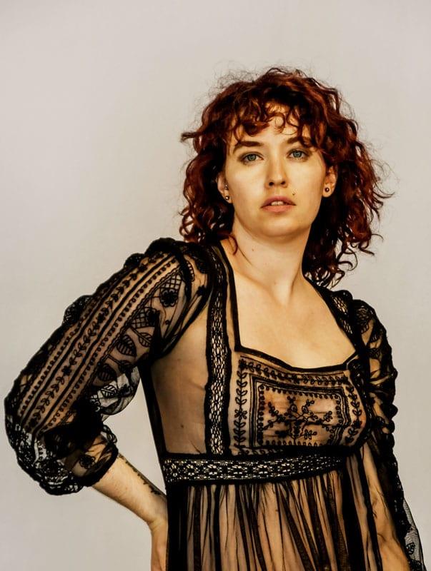 Model Amanda - redhead model in sheer top