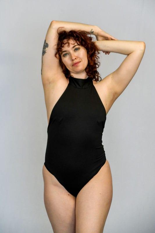 model Amanda in black leotard