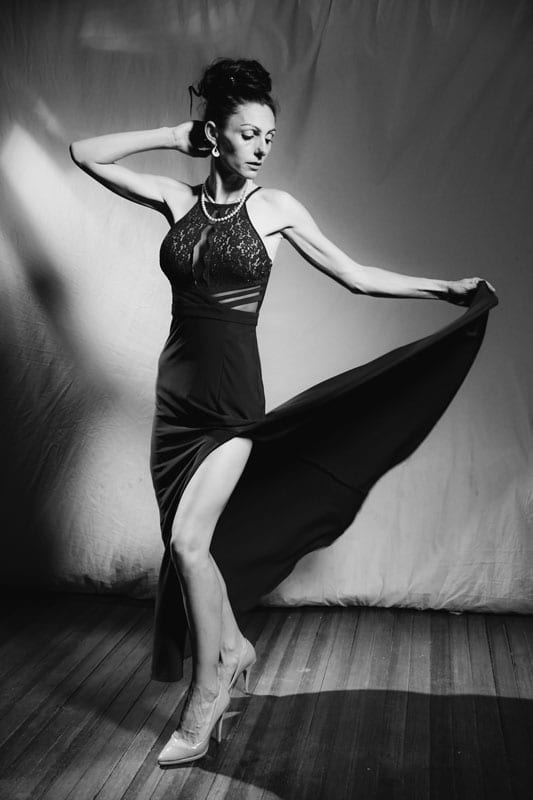 model abbie in black and white in flowing dress