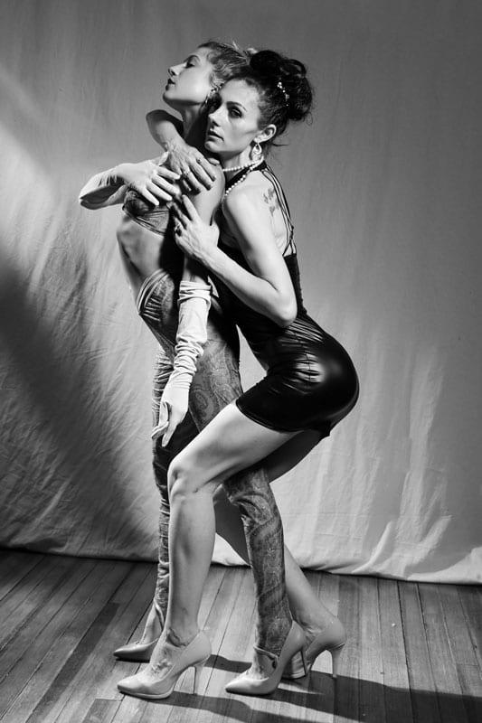 model photo - abbie and jojo pose together