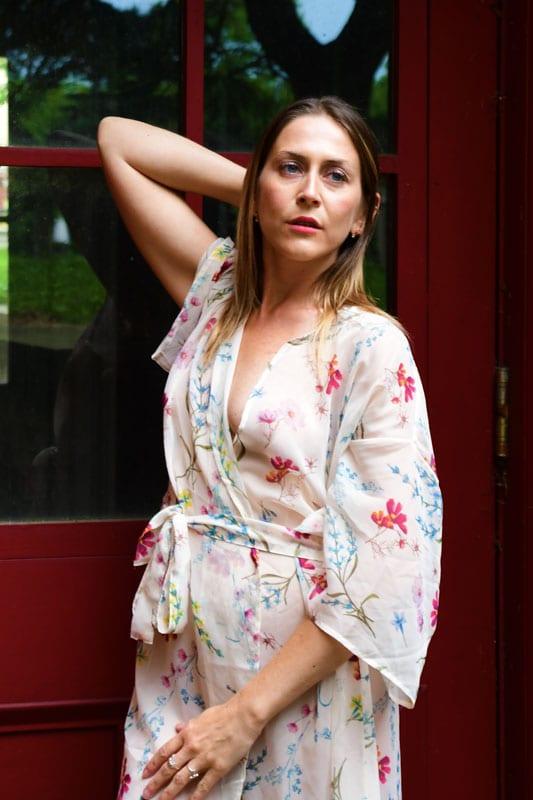 model - Erica against red door